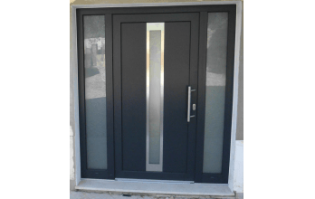 Porte d'entrée en PVC gris vitrée