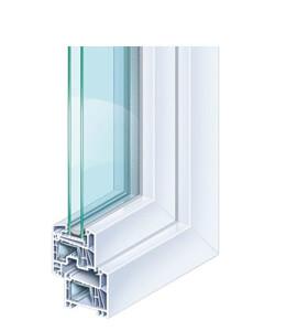 Profil de porte-fenêtre en PVC Kömmerling 70 EuroFutur Classic standard