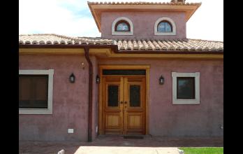 Porte d'entrée double en bois vitrée style classique