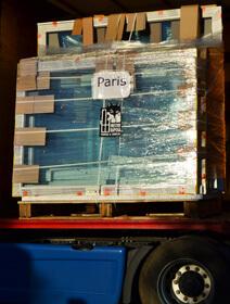 Fenêtres de Mestre Raposa chargez sur notre camion pour êtres livrées à Paris