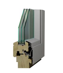 Profil de porte d'entrée en bois-alu MRD 78 pin nordique